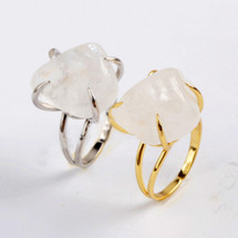 Natural Semo Precious White Quartz Claw Ring: Gold Or Silver