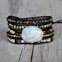 White Solar Quartz Black Leather Wrap Bracelet