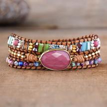 Rhodochrosite Healing Leather Wrap Bracelet