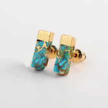 Turquoise Bar Stud Earrings
