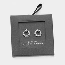 Gold Dipped Open Circle Knot Stud Earrings: Gold Or Silver