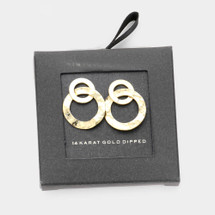 Gold Dipped Hammered Double Ring Earrings: Gold Or Silver