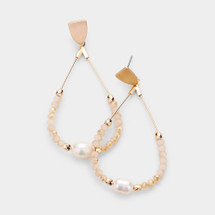 Freshwater Pearl Faceted Hoop Earrings
