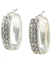 Antique Silver Etched Pin catch Hoop earrings