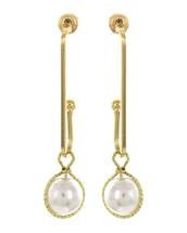 Wire Pearl Hoop Drop Earrings