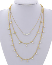 Three Layer Pearl Strands Necklace