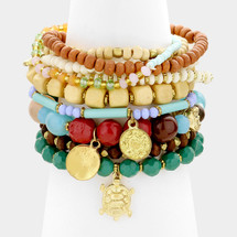 Turtle +Discs Bracelet Stack/Set