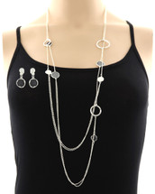 Layered Silver Necklace Set