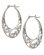 Antique Silver Scroll Hoops