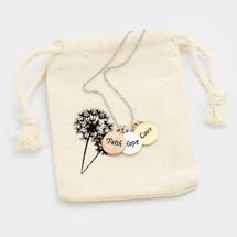 Tri-color Faith, Hope, Love Discs Necklace