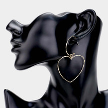 Thin Metal Heart Hoops: Gold Or Silver