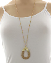 Long Taupe & Gold Pendant Necklace