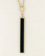 Long Black Rectangle Necklace