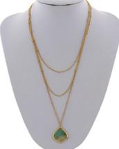 Semi Precious Layered Pendant Necklace