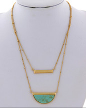 Turquoise Layered Half Circle Necklace