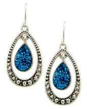 Midnight Blue Silver Teardrop Earrings