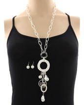 Long Silver Pearls Drop Necklace
