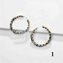 Semi Precious Stone Hoops - Turquoise/Howlite