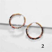 Semi Precious Stone Hoops - Mauve/Jasper