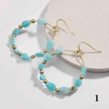 Gold Plated Round Natural Stone Dangle Earrings - Amazonite