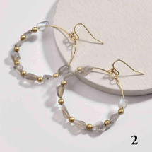 Gold Plated Round Natural Stone Dangle Earrings - Rutilated Quartz