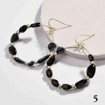Gold Plated Round Natural Stone Dangle Earrings - Black Agate