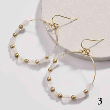 Gold Plated Round Natural Stone Dangle Earrings - Clear Quartz