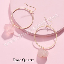 Semi Precious Stone Drop Hoops - Rose Quartz
