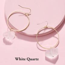 Semi Precious Stone Drop Hoops - Clear Quartz