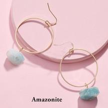 Semi Precious Stone Drop Hoops - Amazonite