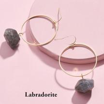 Semi Precious Stone Drop Hoops - Labradorite