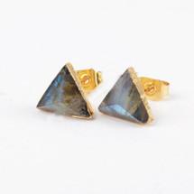 Labradorite Triangle Tiny Stud Earrings