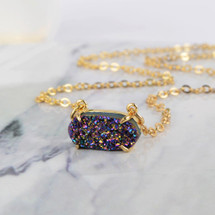 Hexagon Natural Druzy Necklace - Rainbow
