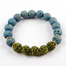 Druzy Bead Bracelet - Green/Blue