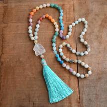 White Quartz Amazonite Fire Agate Tassel Necklace
