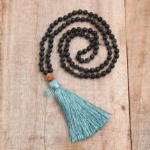 Volcano Stone Rope Tassels Mala Bead Necklace