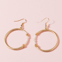 Cassie Round Pearl Hoops