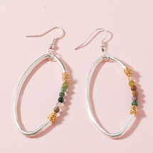 Lauren Semi Precious Stone Hoop Earrings