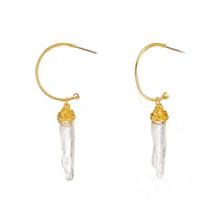Quartz Drop Hoop Earrings