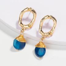 Natural Stone Drop Earrings - Blue