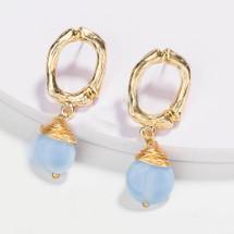 Natural Stone Drop Earrings - Light Blue