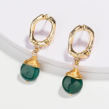 Natural Stone Drop Earrings - Green