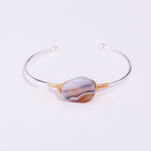 Wire Wrapped Onyx Agate Bracelet