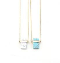 Semi Precious Pendant Necklace: Turquoise Or White Howlite