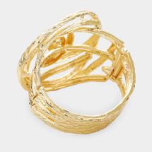 Floral Pearl Metal Hinged Bracelet
