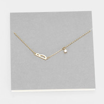 Delicate Initial Necklace With Crystal Drop