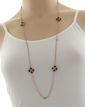 Long Gold/Black Station Necklace