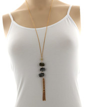 Gold/Grey Stones Tassel Necklace