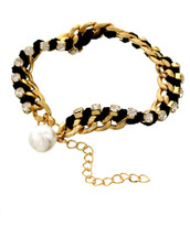 Pearl Crystal Links Bracelet: Gold Or Silver