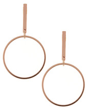 Circle Bar Rose Gold Earrings